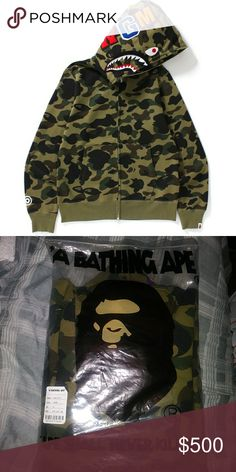 9ab4e01b40ca A BATHING APE Bape 1st Camo GRN Shark Head Hoodie 1 left A BATHING APE Bape