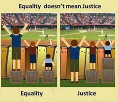 Think deeper about what is just compared to what is merely equal.
