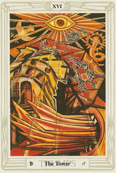 'The Tower' tarot card from the Thoth deck by Aleister Crowley.