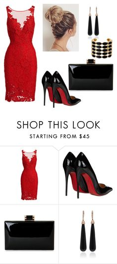 """""""Untitled #3"""" by munira-salihovic ❤ liked on Polyvore featuring ML Monique Lhuillier, Christian Louboutin, SUSAN FOSTER and House of Harlow 1960"""