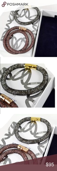 """Authentic Swarovsky Sturdust Bracelet set of 2 Authentic Swarovsky Sturdust Bracelet Chocker set of 2 size M. This must have set includes two Sturdust Bracelet. Both features a black nylon fishnet tube filled with crystals. The longer Bracelet can be worn as a double wrap bracelet or Chocker. The easy- magnetic closure shine in rose gold - Plated and gold - plated metal respectively. SZ 7 3/4"""" and 15 5/8"""" Swarovski Jewelry Bracelets"""
