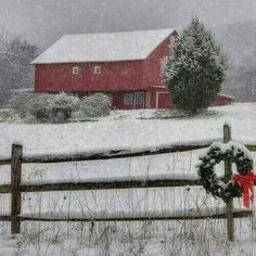 Winter.... #snow #barn #wreath #fence