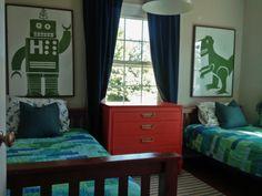My boys shared bedroom.  Dinosaur & Robot Paintings |  www.theanatomyofdesign.com