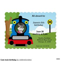 Sold. Cute #train #birthday #invitation #kids Available in different products. Check more at www.zazzle.com/celebrationideas