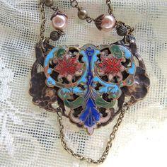 Vintage Cloisonne Belt Buckle Assemblage Necklace by Vintagearts on Etsy https://www.etsy.com/listing/265582772/vintage-cloisonne-belt-buckle-assemblage