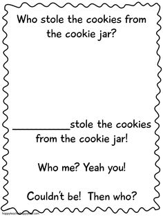 Who Stole The Cookie From The Cookie Jar Book Chalk Talk A Kindergarten Blog Back To School Ideas  Literacy