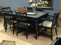 Distressed Black Table and Chairs, purchased and customized here at the shop