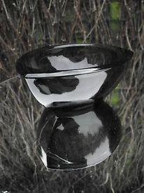 Nuutajarvi Notsjo Smokey Grey Glass Candle Holder, Finnish Kaj Franck?