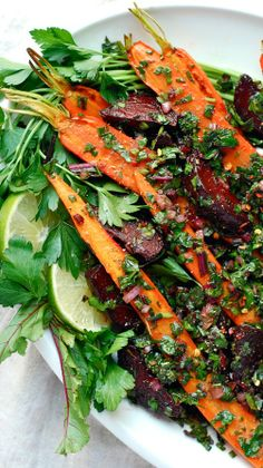 roasted beet and carrot salad with green salsa verde....
