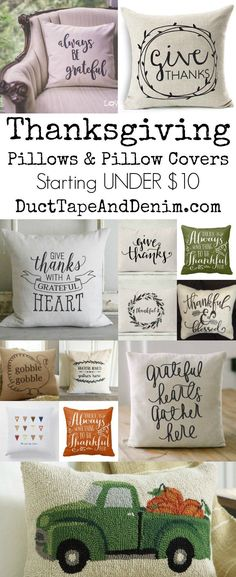 Thanksgiving pillows and pillow covers starting UNDER $10.00 | http://DuctTapeAndDenim.com