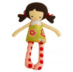 Alimrose Martha Doll Rattle Green Pansy 26cm