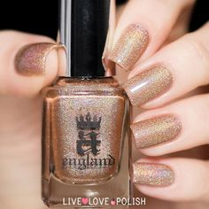 A-England Sparks Divine (Heavenly Quotes Collection)    A-England Sparks Divine is a toffee brown with a soft golden holographic shimmer.