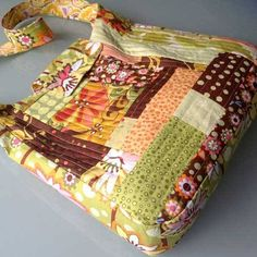 Patchwork bags always look creative and interesting and this one goes together using a quilt-as-you-go technique which makes it very easy and fun to sew, and a good beginner project.