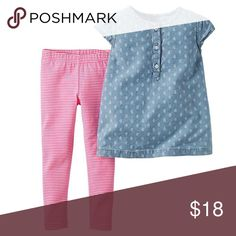 Carters infant girls 2pc outfit set NWT. Dress your little darling for a grand day out in this newborn and infant girl's chambray top and leggings outfit from Carter's. A short-sleeve shirt features paisley print and beautifully complements the striped knit leggings that finish this set. Plus, the soft, all-cotton fabric is comfortable and easy to maintain. Set: Top and leggings Top: Boat neck, button placket, short sleeves Leggings: Elastic waist Fabric: 100% cotton Carter's Matching Sets