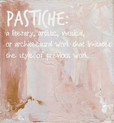 "Pastiche. Syllabification: pas·tiche. Pronunciation: paˈstēSH, päˈstēSH. Noun: pastiche; plural noun: pastiches. Definition: 1. an artistic work in a style that imitates that of another work, artist, or period. ""The operetta is a pastiche of 18th century styles"". synonyms: imitation, parody; informal takeoff. an artistic work consisting of a medley of pieces taken from various sources. Synonyms: mixture, blend, medley, mélange, miscellany, mixed bag, potpourri, mix, compound, composite..."