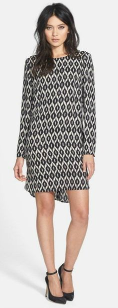 Long Sleeve Crepe Shift Dress w/Shirttail Hem | Nordstrom