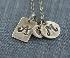 Personalized Initial Love Necklace Rustic by gooseberrystudio, $64.00