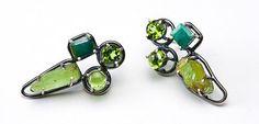 Click to enlarge image. Artist: Joanna Gollberg: Greens Cross Earrings, peridot, emerald