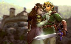 Princess Zelda and Link art inspired by The Legend of Zelda Zelda Twilight Princess, Link Art, Link Zelda, Breath Of The Wild, Dance Photography, Cute Anime Couples, Wii U, Legend Of Zelda, Video Games