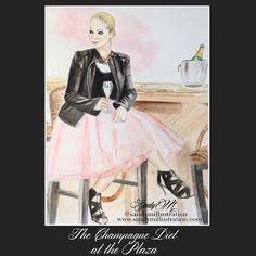 Custom Fashion Illustration of Cara of The Champagne Diet at the Plaza by #fashionillustrator SANDY M via www.sandymillustration.com blog #illustration #fashionillustration #sandym