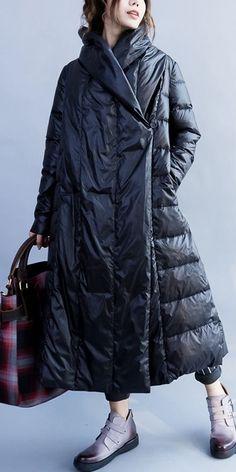 Black Loose Long Down Coat Women Winter Warm Jacket Winter Coats Women, Coats For Women, Jackets For Women, Winter Jackets, Women's Jackets, Fall Winter Outfits, Winter Fashion, Long Down Coat, Trendy Outfits
