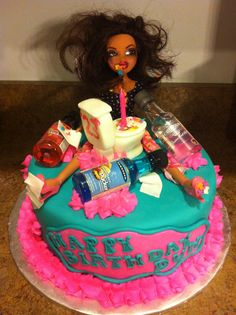 Drunk Barbie! Great 21st bday cake! @Mackenzie Molzhon Fine I'm making you…