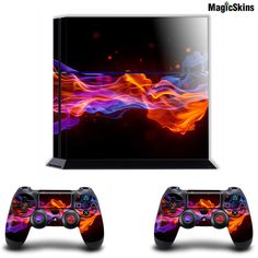 BLUE ORANGE FIRE-Playstation PS4 Console+Controller Skins Stickers decals wraps #MagicSkins