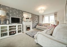 Taylor Wimpey - Lucet Meadow (Redditch)  Interior Designed Living Room.  Pale oyster, sage grey and mink interior.  French style.  I feel it's a really good example of a  mix of modern with traditional.
