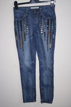 Karen Millen Fashion Skinny Denim Women s Trousers Jeans Blue Studs 27W 27L