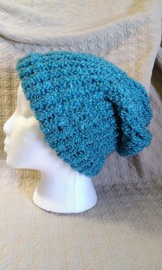 Teal/ Turquoise/ Blue Winter Beanie Slouchy Hat by CaitlynsCabinet, $16.00
