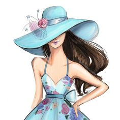 Derby Hat Fashion Illustration Watercolor Print, wall art, gift for her, gift women - Illustration Mignonne, Illustration Sketches, Drawing Sketches, Fashion Design Drawings, Fashion Sketches, Fashion Illustrations, Girly Drawings, Cartoon Art, Cute Art