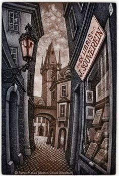 Ex Libris for J. (Johan) Souverein by Peter (Petr) Melan (Artist: Czech Republic, 1947-  ) ~ city street with Bookshop