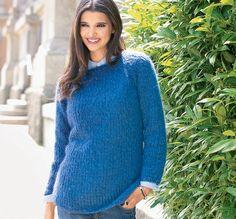 Описание вязания на спицах синего джемпера из журнала «Verena. Модное вязание» №4/2014
