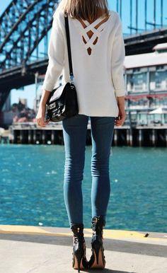 Crisscross back sweaters + skinny jeans.
