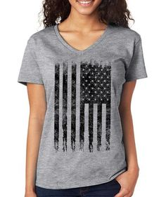 SignatureTshirts Gray America Flag V-Neck Tee Casual Chic Style, Big And Beautiful, V Neck Tee, American Flag, Toddler Girl, Graphic Tees, T Shirts For Women, My Style, Cotton