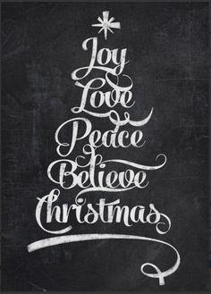 chalkboard Christmas tree calligraphy - http://www.zazzle.com/chalkboard_christmas_joy_tree-228169421566243498?rf=238087280021604351