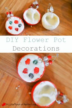 DIY Milk Cap Clay Flower Pot Decorations Kid Craft-I love the fingerprint heart ones (Perfect for Spring and Mother's Day gifts) | A Little Pinch of Perfect