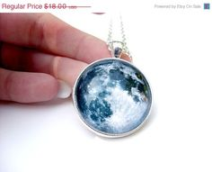 SALE Full Moon Necklace 30mm Glass Dome Silver by KaDishDay, $14.40