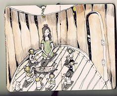 Fuka-Eri and little peoples are made an air cocoon by Pedalja on DeviantArt 1q84, Haruki Murakami, Little People, Zine, Literature, Tapestry, Fan Art, Deviantart, Illustration