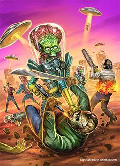 Horror Movies That Are Based On True Stories Arte Alien, Arte Sci Fi, Alien Art, Sci Fi Art, Mars Attacks, Horror Icons, Horror Comics, Arte Horror, Horror Art