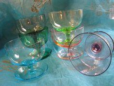 6 x Dessert Bowl – Vintage Art Nouveau or 1950s – Colored German Süssmuth Glass – Ice Cups – Champagne von everglaze auf Etsy