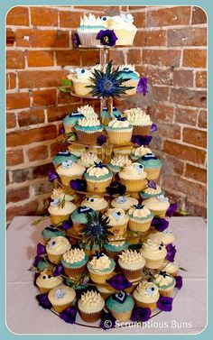 Blue Thistle Wedding Cupcake Tower by Scrumptious Buns (Samantha), via Flickr