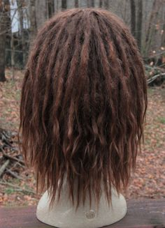 Brown Rainbow Dreads Dreadlocks Wig Hippie Hair w// Beads Adult Costume Accessory