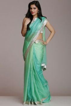 Sea Green Kota Silk Saree With Silver Gota Patti Work #womenwear, #anarkalis…