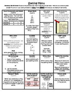 FREEBIE!!!  Spelling Homework Menu