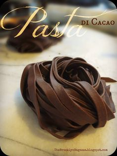 Chocolate Pasta ~ Pasta di Cacao. This savory chocolate pasta is best served with a cream sauce..preferable an alfredo-type sauce, with extra Pecorino Romano for topping. This is SO very expensive to buy but only costs a fraction of the price if you make it yourself and it's SO easy to make!!!