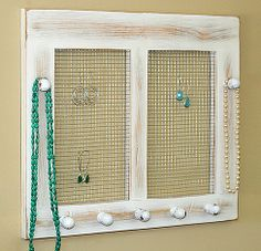 Earring Holder Organizer Shabby Chic Cottage Jewelry Holder Framed Window Jewelry Holder Earrings Rustic Wood. $38.00, via Etsy.