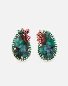 Carla Maxine – Love Adorned NYC – emerald and sapphire hybrid earrings Jewelry Art, Fine Jewelry, Jewelry Design, Designer Jewelry, Tourmaline Earrings, Sapphire Earrings, White Opal, White Gold, Australian Black Opal