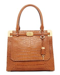 Can't go wrong with a camel color hand bag....GOES WITH EVERY COLOR LOVE THE BOWLING BAG LIKE STRUCTURE.  Michael Kors Blake Crocodile-Embossed Satchel.