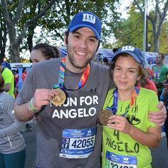 Exhausted but all smiles after finishing the NYC marathon last year, our favorite race yet!